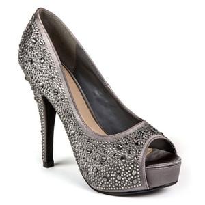 Lady Couture Lauren Pewter Embellished Peep-toe Heels