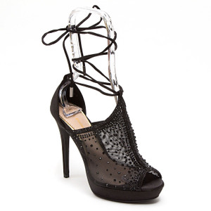 Lady Couture Vogue Black Fabric Strappy Heels