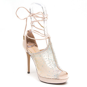 Lady Couture Vogue Champagne Fabric Strappy Heels
