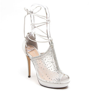 Lady Couture Vogue Silver Fabric Strappy Heels