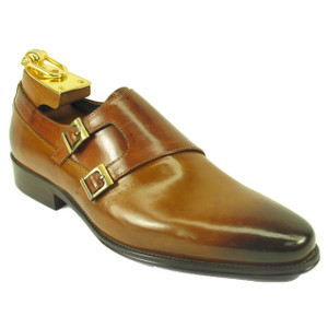 Carrucci Cognac Calfskin Leather Double Monkstraps