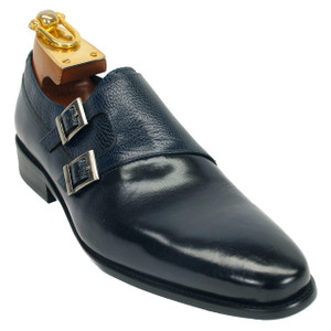Carrucci Navy Calfskin Leather Double Monkstraps