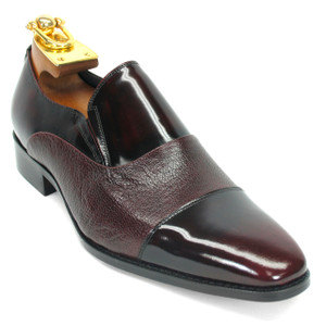 Carrucci Burgundy Deerskin & Calfskin Leather Slip-ons