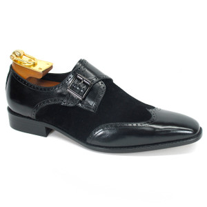 Carrucci Black Leather & Suede Wingtip Monkstraps