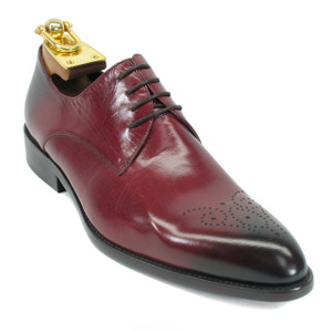 Carrucci Burgundy Genuine Calfskin Leather Oxfords