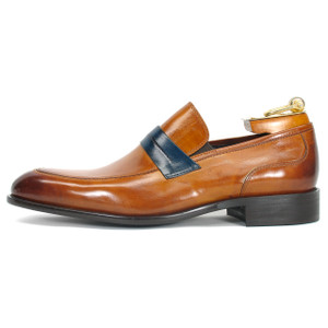 Carrucci Cognac Genuine Calfskin Leather Slip-ons