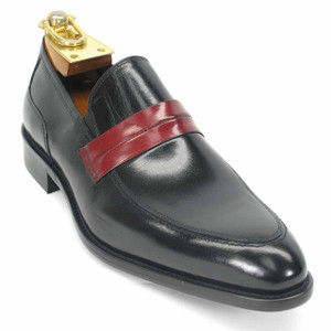 Carrucci Black Genuine Calfskin Leather Slip-ons