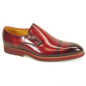 Carrucci Burgundy Calfskin Leather Brushed Slip-ons