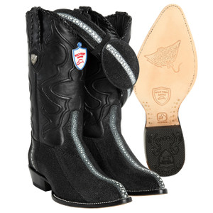 Wild West Black Stingray Rowstone J-toe Boots
