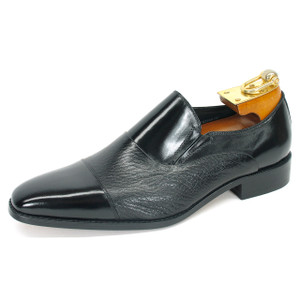 Carrucci Black Deerskin & Calfskin Dress Slip-ons