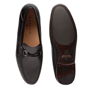 Mezlan Vesta Black Nappa & Ostrich Leather Loafers