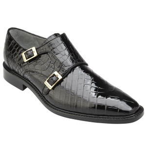 Belvedere Oscar Black Genuine Alligator Double Monkstrap Men's Shoe