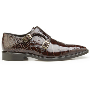 Belvedere Oscar Chocolate Alligator Double Monkstraps
