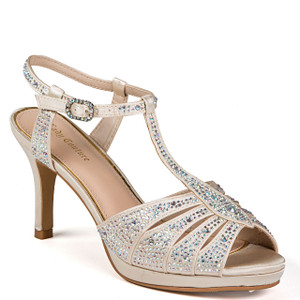 1665d41ca Lady Couture Winner Champagne Jeweled Strappy Heels