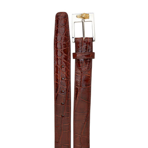 Belvedere Peanut Genuine Alligator Dress Belt