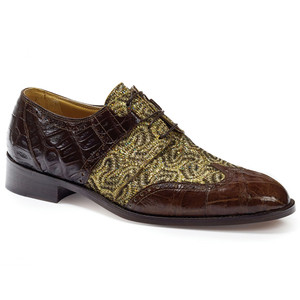 Mauri Caracalla Rust Crocodile & Fabric Oxfords