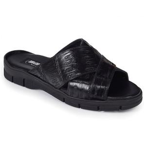 Mauri Cagnola Black Crocodile Sandals