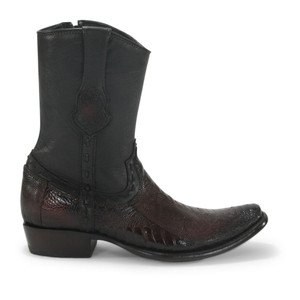 King Exotic Brown Ostrich Leg Dubai Toe Boots