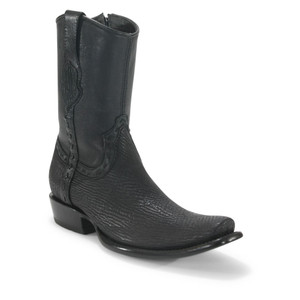 King Exotic Black Sharkskin Dubai Toe Short Boots