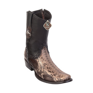 King Exotic Rustic Brown Python Dubai Toe Side Zipper Short Western Boots