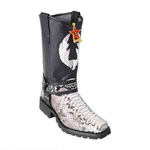Los Altos Natural & Black Python Biker Boots