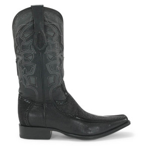 King Exotic Black Stingray & Deer European Toe Boots