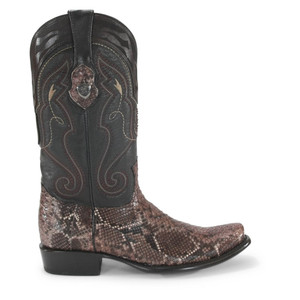 Wild West Rustic Brown Python Dubai Toe Boots