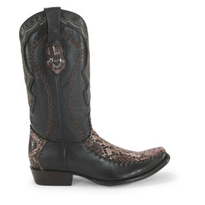 Wild West Rustic Brown Python & Deer Dubai Toe Boots