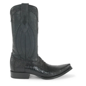 Wild West Black Ostrich Leg Snip Toe Boots