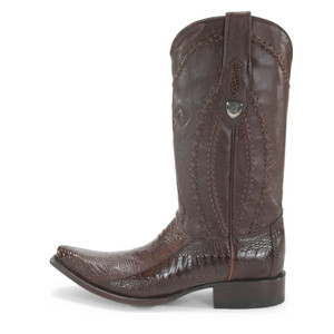 Wild West Brown Ostrich Leg Snip Toe Boots