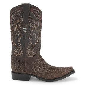 Wild West Sand Brown Teju Lizard Snip Toe Boots