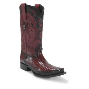 Wild West Burgundy Teju Lizard Snip Toe Boots