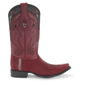 Wild West Burgundy Row Stone Stingray Snip Toe Boots