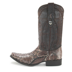 Wild West Rustic Brown Python Snip Toe Boots