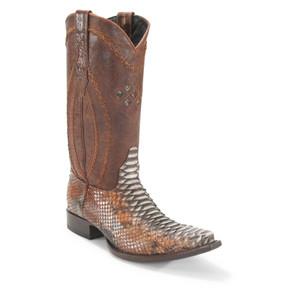 Wild West Rustic Cognac Python Snip Toe Boots