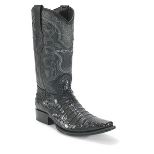 Los Altos Black Caiman Belly Square Toe Boots