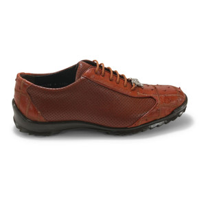 Los Altos Cognac Ostrich Patch Casual Shoes