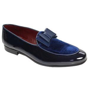 Duca Amalfi Navy Blue Velvet & Leather Bow Dress Shoes