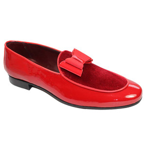 Duca Amalfi Red Velvet & Leather Bow Dress Shoes