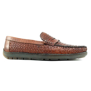 Alan Payne Tulsa Cognac Leather Woven Loafers