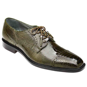 Belvedere Batta in Olive Genuine Ostrich Oxford