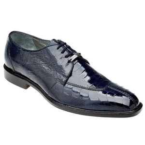 Belvedere Siena Navy Genuine Ostrich Men's Oxford