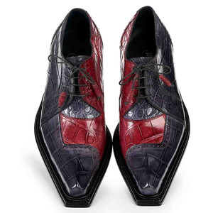 Mauri Men's Pino Bordeaux & Medium Grey Alligator Body Oxfords