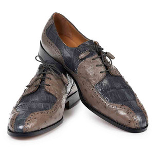 Mauri Men's Pruno Grey & Pepper Baby Croc & Ostrich Oxfords