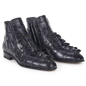 Mauri Men's Quercia Charcoal Grey Baby Croc & Hornback Raised