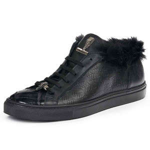 Mauri Men's Larice Black Kangaroo Fur & Embossed Nappa Leather Sneakers