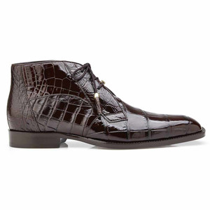 Belvedere Stefano Chocolate Genuine Alligator Ankle Boot
