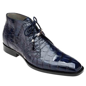 Belvedere Stefano Navy Genuine Alligator Men's Ankle Boot
