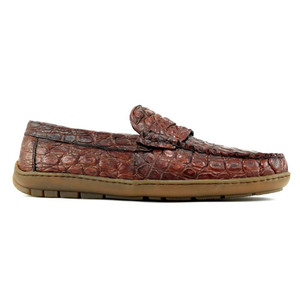 Alan Payne Norman Sport Rust Crocodile Skin Men's Slip-On Loafers