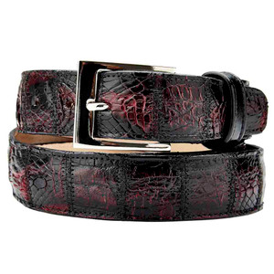 Belvedere Genuine Crocodile Black Cherry Dress Belt